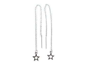 Stern Ketten-Ohrringe Hänger Miniblings Sterne Kettchen Ohrring lang silber – Bild 4