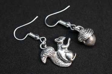 Set Squirrels Acorn Earrings Miniblings Walnut Forest Nature Silver – Bild 4