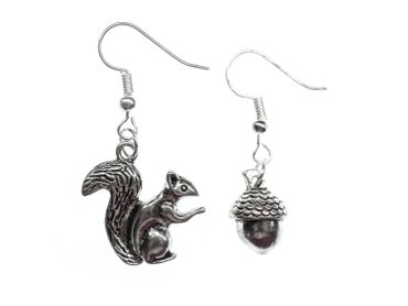 Set Squirrels Acorn Earrings Miniblings Walnut Forest Nature Silver – Bild 3