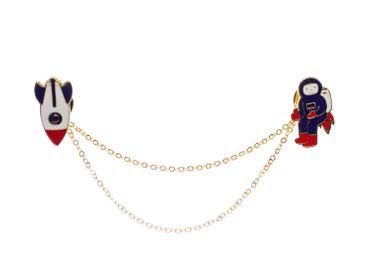 Astronaut Raumschiff emailliert Brosche Miniblings Metall Emaille Kette Rakete – Bild 3