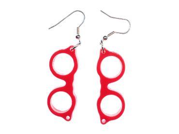Glasses Woody Earrings Miniblings Nerd Hipster Retro Red – Bild 3