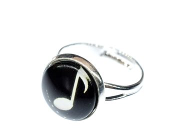 Notes Music Ring Marks Miniblings Ring Cabochon Treble Clef Silver Plated – Bild 1