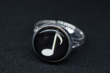 Notes Music Ring Marks Miniblings Ring Cabochon Treble Clef Silver Plated – Bild 4