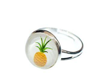 Ananas Ring Cabochon Miniblings Früchte Frucht Obst Sommer silber schlicht – Bild 6