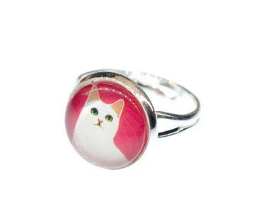 Katzenkopf Ring Miniblings silber Tierkopf Katze Kätzchen rosa silber schlicht – Bild 1