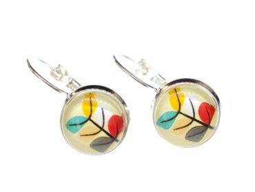 Colorful Leafs Leaves Earrings Silver Miniblings Cabochon Autumn Plant Color – Bild 4