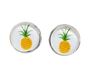 Pineapple Cabochon Earrings Ear Studs Earstuds Miniblings Fruits Miniblings Food – Bild 1