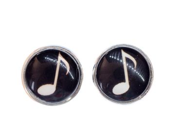 Eighths Notes Cabochon Miniblings Earrrings Ear Studs Earstuds Notes Music Piano – Bild 4