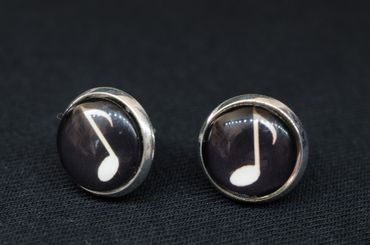Eighths Notes Cabochon Miniblings Earrrings Ear Studs Earstuds Notes Music Piano – Bild 3