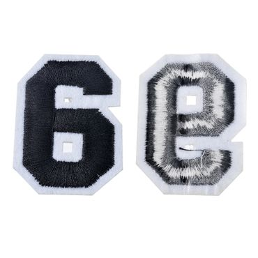 Iron On Patch Nine Number College Miniblings White Black Press Ironing Numbers 9 – Bild 1