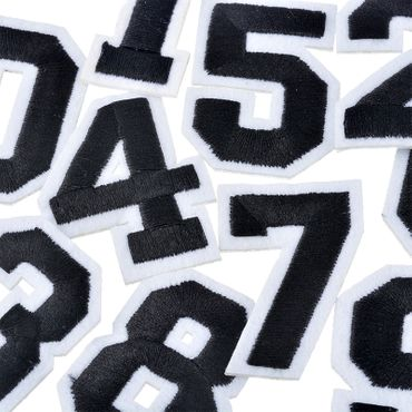 Iron On Patch Six College Number Miniblings White Black Press Ironing Numbers 6 – Bild 4