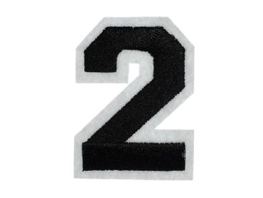 Iron On Patch Two Number College Miniblings White Black Press Ironing Numbers 2 – Bild 3