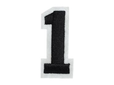 Iron On Patch One Number College Miniblings White Black Press Ironing Numbers 1 – Bild 3