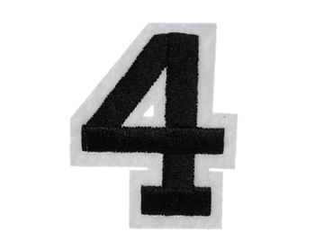 Iron On Patch Four College Number Miniblings White Black Press Ironing Numbers 4 – Bild 1