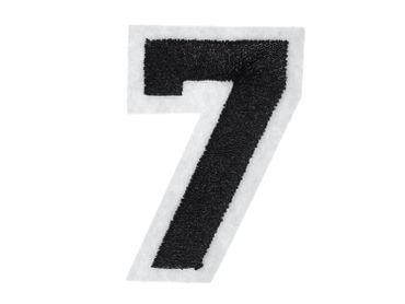 Zahl Sieben Bügelbild Aufnäher Aufbügler Miniblings schwarz weiß College 7 Nummer – Bild 3