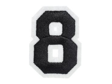 Zahl Acht Bügelbild Aufnäher Aufbügler Miniblings schwarz weiß College 8 Nummer – Bild 4