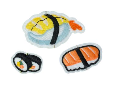 Sushi Triple Pack Patch Hotfix Iron On Application Miniblings Fish Asian Food – Bild 1