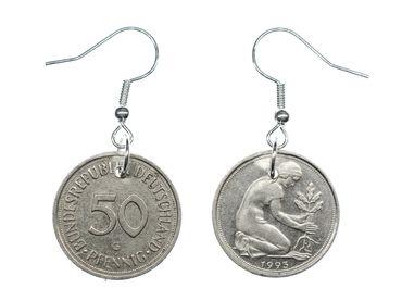 50 BRD Pfennig Ohrringe Miniblings Münze Deutschland Geld Ohrschmuck retro Mauer – Bild 3