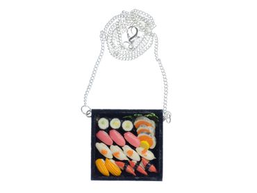 Sushi Plate Necklace Miniblings Japanese Specialty Japan Cawaii Fish  – Bild 1