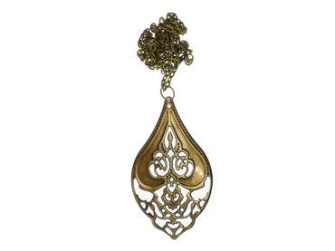 Indian Necklace Miniblings India Ornament Oriental Bronze Chain Drops Metal – Bild 1