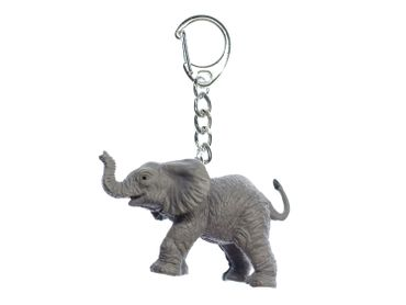 Elephant Baby Key NecklaceMiniblings Key Chain Ring Zoo Pachyderm Rubber Africa – Bild 1