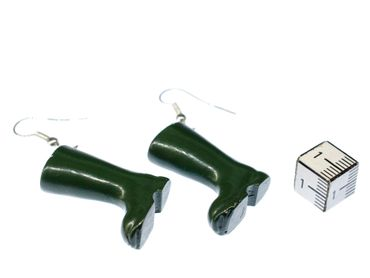 Green Gumboots Earrings Dangle Miniblings Boots Silver Plated – Bild 4