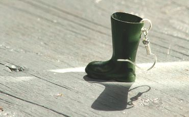 Green Gumboots Earrings Dangle Miniblings Boots Silver Plated – Bild 6