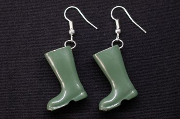 Green Gumboots Earrings Dangle Miniblings Boots Silver Plated – Bild 2