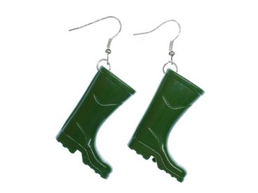 Green Gumboots Earrings Dangle Miniblings Boots Silver Plated – Bild 3