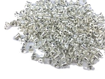 300pcs Ear Nuts Post Stopper Silver Plated DIY For Ear Studs Findings 6mm x 5mm – Bild 4