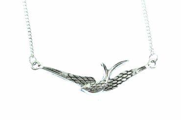 Schwalbe Kette Schwalbenkette Miniblings 45cm Vogel Vogelkette Flügel versilbert – Bild 2