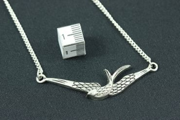 Schwalbe Kette Schwalbenkette Miniblings 45cm Vogel Vogelkette Flügel versilbert – Bild 3