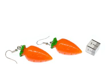 Carrot Carrots Earrings Miniblings Bunny Rabbit Vegetables 3D Orange Vegetables – Bild 2