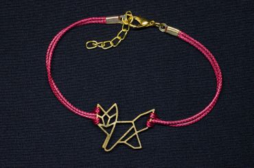 Red Fox Bracelet Wristlet Dangle Pendant Miniblings Gold Plated Bordeaux – Bild 1
