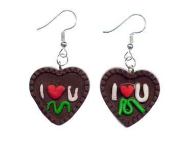 Gingerbread Heart Earrings Miniblings Heart Oktoberfest Christmas Brown Handmade – Bild 1