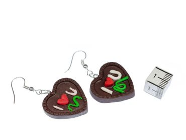 Gingerbread Heart Earrings Miniblings Heart Oktoberfest Christmas Brown Handmade – Bild 2