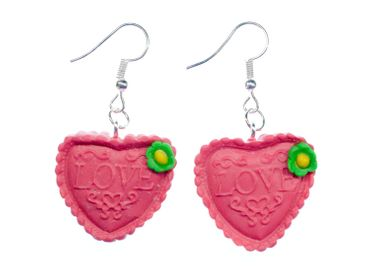 Gingerbread Heart Earrings Miniblings Heart Red Christmas Oktoberfest Love – Bild 1