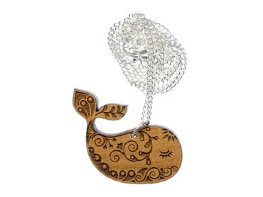 Whale Necklace Miniblings Chain Wood Lasercut Animal Sea Ocean Mammal Cetacean – Bild 1