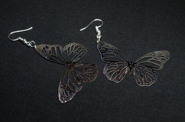 Butterfly Earrings Filigree Miniblings Silver Metamorphosis Spring Animal Insect – Bild 3