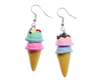 Icecream Cornet Earrings Miniblings Ice Sweet Delicious Colorful Sugar Sprinkles – Bild 1