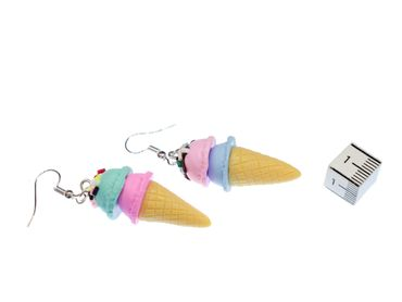 Icecream Cornet Earrings Miniblings Ice Sweet Delicious Colorful Sugar Sprinkles – Bild 2