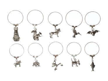 10x Glasmarkierer Glasmarker Party Miniblings Glasanhänger Anhänger Tier silbern – Bild 2
