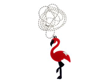 Red Big Flamingo Necklace Miniblings Chain Bird Birds Exotic Silver Plated – Bild 1