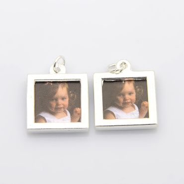 Angular Photo Earrings Miniblings Pendant Your Own Photo DIY Personalized – Bild 3