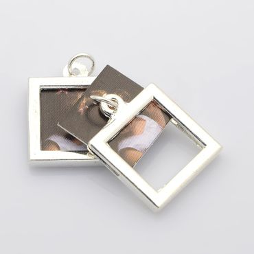 Angular Photo Earrings Miniblings Pendant Your Own Photo DIY Personalized – Bild 4