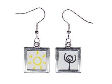 Angular Photo Earrings Miniblings Pendant Your Own Photo DIY Personalized – Bild 1