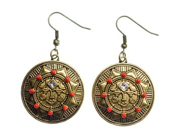 Bronze Sun Earrings Miniblings India Sunshine Boho Chic Eardrop Star Hippie – Bild 1