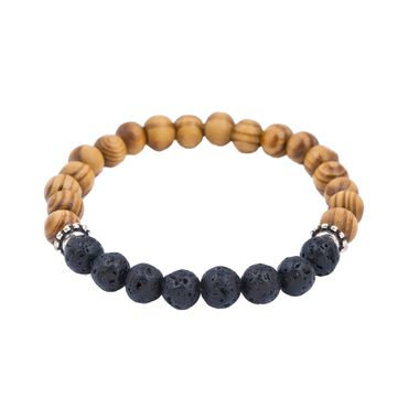Beads Bracelet Two Colors Brown Black Miniblings Pearls Bead Wood Bicolor – Bild 1