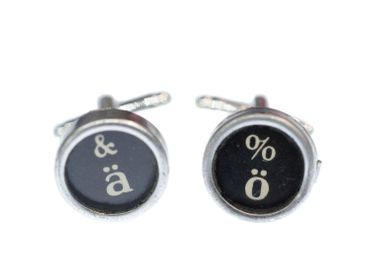 ä ö Typewriter Keys Old Cuff Links Cufflinks Black Miniblings Button – Bild 4