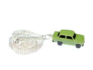 Trabi Necklace Trabant DDR Vintage Retro Car Silver Plated Miniblings Green – Bild 1